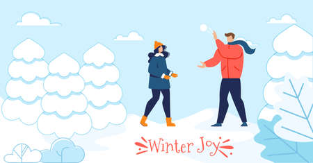 Winter Joy Motivation Poster with Happy Couple. Cartoon Man and Woman in Love Playing Snowballs in Snowy Park. Loving People and Outdoors Recreation. Season Spare Time. Vector Flat Illustration