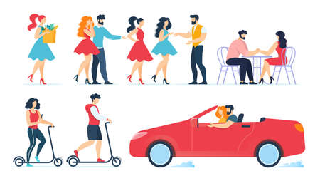 Cartoon People Characters Daily Routine Set. Couple in Love, Female Friends, Woman Along. Meeting, Shopping, Resting and Dating in Cafe, Riding Eco-Friendly Transport, Driving Car. Vector Illustration