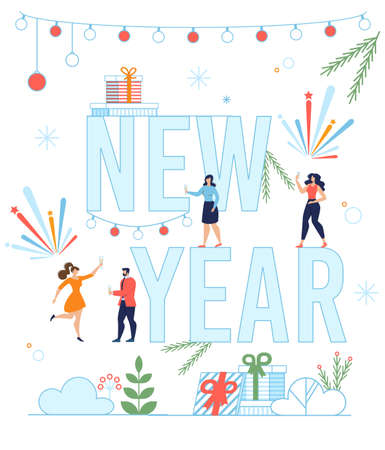 New Year Lettering with Happy Tiny People, Gift Boxes and Decoration. Invitation Flat Poster. Funny Festive Characters. Holidays Celebration. Congratulating and Greeting. Vector Cartoon Illustration