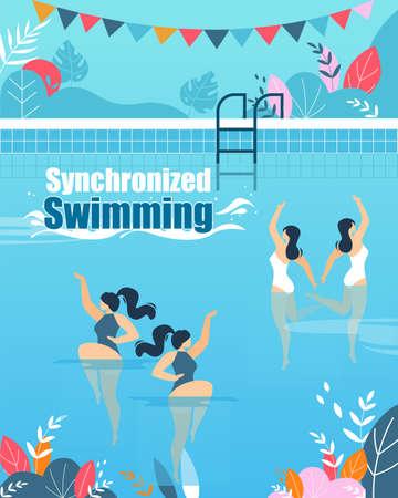 Synchronisierte Schwimmkurse Vertikale Flache Banner. Verschiedene weibliche Schwimmer-Zeichentrickfiguren, die auf unterschiedliche Weise schwimmen. Einladungsflyer zur Schulungsstunde. Wassersport. Vektorillustration Vektorgrafik