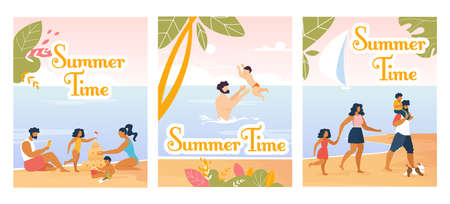 Family Summer Time. Cartoon Natural Design Flyers and Cards Set. Happy Parents and Children Swimming and Having Fun in Water, Walking on Beach, Building Sand Castle. Vector Illustration Illustration