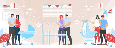 Mom and Dad with Child Lovely Family, Husbands Embracing Pregnant Wives. Happy Couples Prepare Become Parents and Taking Care of Newborn Baby. Maternity and Parenting. Cartoon Vector Flat Illustration