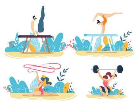 Sportive People Do Tricks with Gym Equipment Set Ilustracja