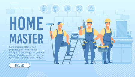 Turnkey Apartment and House Repair Flat Landing Page Layout with Button for Order. Smiling Repairmen and Designers Team with Tools and Equipment Ready to Work. Vector Cartoon illustration