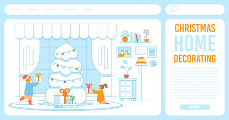 Flat Landing Page for Online Shop, Internet Service Offering Xmas Decor. Cartoon Happy Children Characters Watching Gifts under Christmas Fir Tree in Decorated Living Room. Vector Illustration