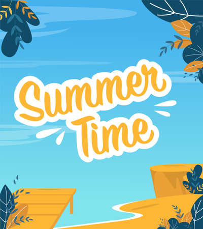 Summer Time Poster in Marine Trendy Flat Design. Italic Type Lettering over Sea Backdrop. Seacoast, Sand Beach. Summertime Recreation. Invitation Cartoon Banner. Creative Abstract Vector Illustration