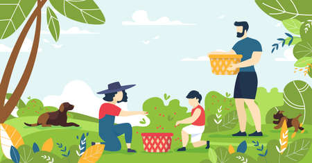 Cartoon Happy Family with Children Characters Picking Forest Berries Harvest. Relatives Rest on Nature. Father, Mother, Little Son Child and Outdoors Recreation. Weekend, Vacation. Vector Illustration