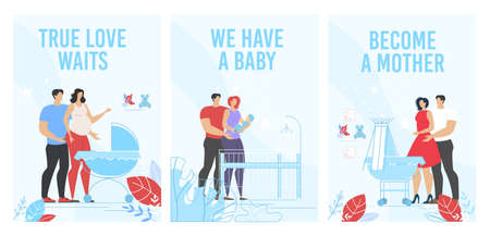 Prenatal Training and Maternity Courses Advertisement. Happy Man Woman, Wife Husband Waiting for Childbirth, Holding Newborn Baby, Taking Care of Kid. Vertical Flat Poster Set. Vector Illustration