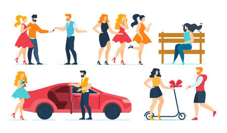 Cartoon Fashion People Characters Rest Flat Set. Female Friends, Rich Young Women with Dog Pet, Married Family Couple, Boyfriend and Girlfriend. Car and Male Valet Parking. Vector Illustration