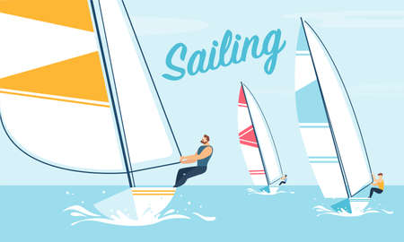 Sea Sailing Race Championship and Extreme Water Sports Games Advertising Flat Design Banner. Cartoon Sportsmen Sailor Yachting Regatta. Nautical Worldwide Traveling. Vector Illustration Ilustracja