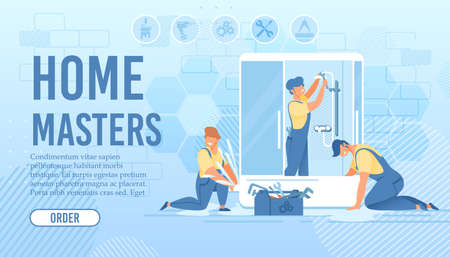 Shower Stall Installation and Repair. Home Master Order Flat Landing Page. Cartoon Plumbers and Repairmen Team in Uniform at Work in Bathroom. Household and Renovation. Vector Illustration