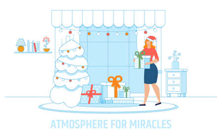 Cartoon Mother Character Creating Atmosphere for Miracles. Flat Home Living Room Decorated Interior with Christmas Fir Tree. Woman in Festive Hat Putting Gifts under Spruce. Vector Illustration