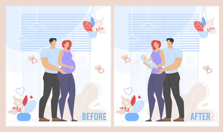 Before Childbirth and After Pregnancy Cartoon Set. Married Family Couple Expecting for Baby and Father, Mother Carrying and Caring for Infant. Happy Adult People and Child. Vector Flat Illustration