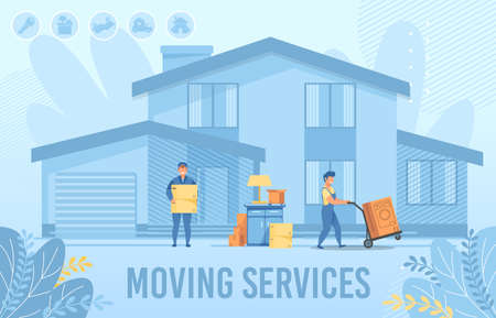 Home Moving Service for New Settler and Delivery Company Advertising Flat Banner. Loaders Hired to Move. Man in Uniform Carrying Cardboard Boxes, Household Appliances, Furniture. Vector Illustration