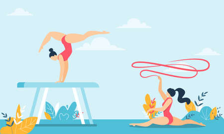Girl Gymnast Sitting on Twine and Holding Ribbon in Hands. Young Woman Acrobat Doing Trick on Wooden Bars. Performance and Competition. Sport and Health. Vector Cartoon Flat Illustration