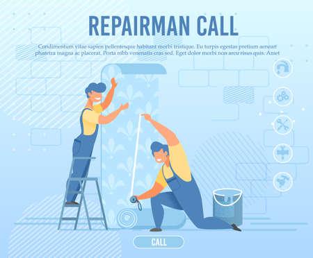 Emergency Repairman Call of Online Service Banner 向量圖像
