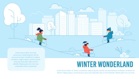 Winter Wonderland for Kids. Cartoon Children Sledding Down Snowy Hills. Fun, Joy and Active Recreation on Winter Holidays. Seasonal Vacation Rest. Advertising Text Poster. Vector Flat Illustration