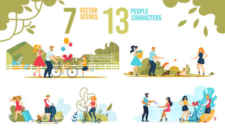 Happy People and Families Characters Scenes Set