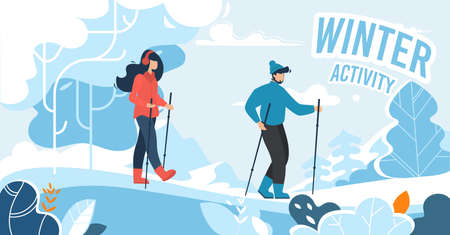 Winter Activity for People Advertising of Banner