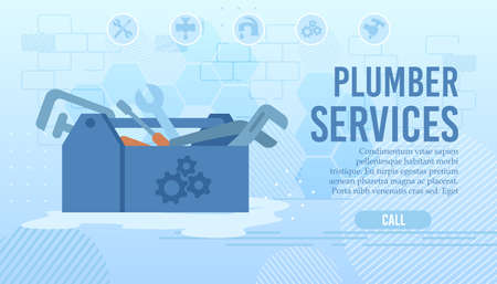 Flat Landing Page for Order Plumber Home Professional Service. Repair Master Call. Water Piping System Renovation and Check. Cartoon Opened Tools Box. Husband on Hour. Vector Illustration