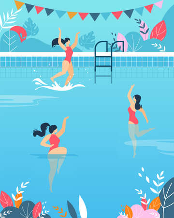 Women Performing Water Activities in Swimming Pool