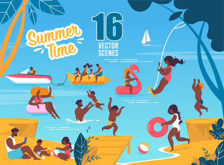 Summer Time Vector Scenes Set with Resting Families. Tanned Parents and Children on Exotic Resort. Fathers, Mothers, Sons and Daughters Swimming in Sea and Snacking on Beach. Cartoon Flat Illustration 矢量图像