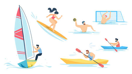 Water Sport and Sportive People Characters Set. Cartoon Men and Women Sailing, Surfing, Rowing, Playing Waterpolo. Summertime Activities on Vacation. Active Lifestyle. Vector Flat Illustration Illustration