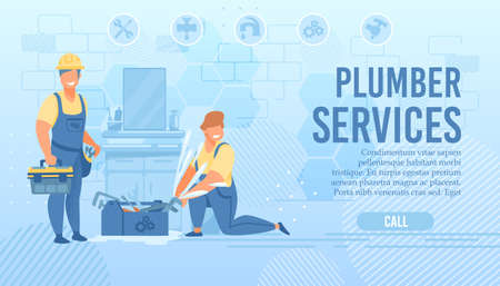Plumbers Service Webpage Offer Professional a Help 向量圖像