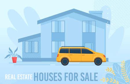 Flat Floral Design Poster Offering Houses for Sale