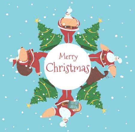 Merry Christmas Creative Banner or Postcard Santa