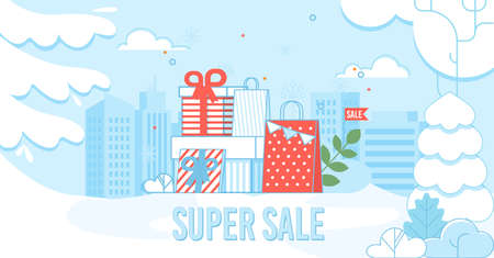 Super Sale Poster with Shopping Bags on Cityscape. Flat Advertisement and Invitation to Buy Gifts on Winter Holidays during Price Fall. Special Offer in City Shop Mall. Vector Cartoon Illustration