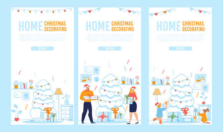 Flat Mobile Landing Page Set for Holidays Preparation. Internet Shopping for Creation Festive Home Interior on Christmas and New Year with Decoration in Smartphone. Vector Cartoon Illustration