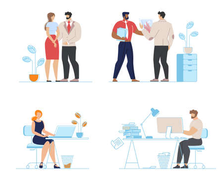 Office Workers Along, Family Couple, Partners Set Illusztráció