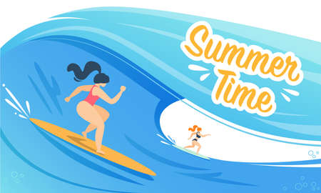 Summer Time Banner with Woman Surfing on Waves