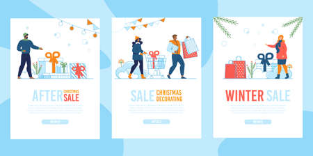 Winter Christmas Sale Flat Mobile Landing Page Set Illustration