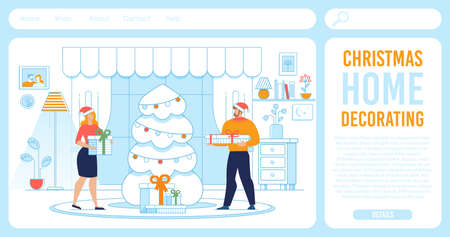 Landing Page Offering Christmas in Home Decoration Illustration