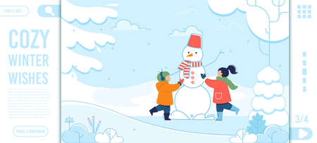 Winter Wishes Text and Happy Kids Landing Page Иллюстрация