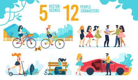 Resting People Characters Vector Scenes Flat Set Illustration