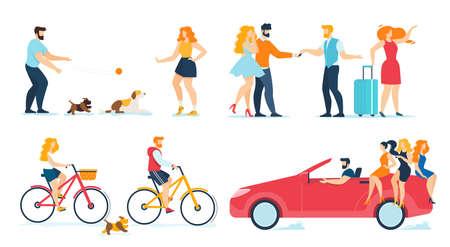 Happy People Travelling, Walking, Resting Flat Set Illustration