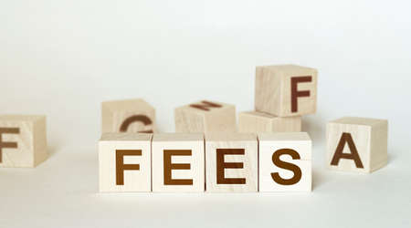 Concept Fees: Wooden cubes with the letters Fees on wooden background Stock fotó - 151907601