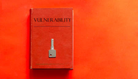 red book with text Vulnerability and a key on a red background