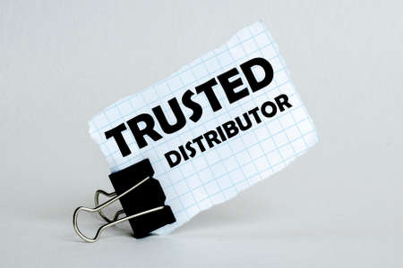 white paper on the white background with text Trusted Distributor