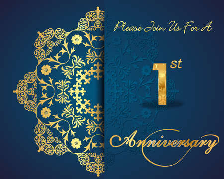 1 year anniversary: 1 year anniversary celebration pattern design, 1st anniversary decorative Floral elements, ornate background, invitation card - vector eps10