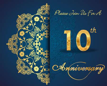 anniversary: 10 a�os de dise�o aniversario patr�n, elementos d�cimo aniversario decorativos florales, fondo adornado, tarjeta de invitaci�n - vector eps10