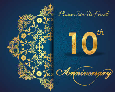 anniversary celebration: 10 year anniversary celebration pattern design, 10th anniversary decorative Floral elements, ornate background, invitation card - vector eps10
