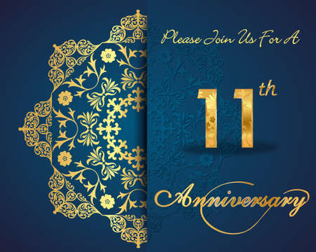 11 number: 11 year anniversary celebration pattern design, 11th anniversary decorative Floral elements, ornate background, invitation card - vector eps10 Illustration