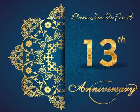 13th: 13 year anniversary celebration pattern design, 13th anniversary decorative Floral elements, ornate background, invitation card - vector eps10 Illustration