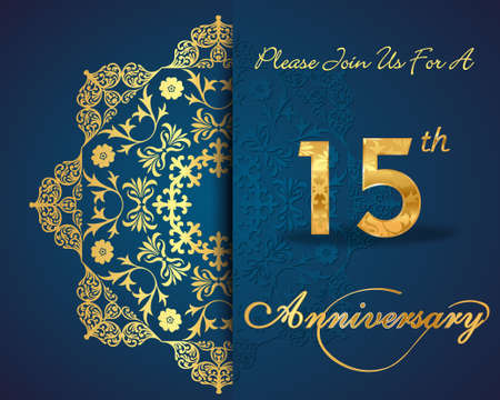 anniversary vector: 15 year anniversary celebration pattern design, 15th anniversary decorative Floral elements, ornate background, invitation card - vector eps10