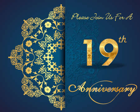 19th: 19 year anniversary celebration pattern design, 19th anniversary decorative Floral elements, ornate background, invitation card - vector eps10