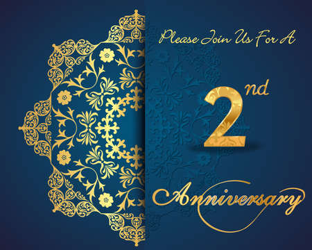 2 50: 2 year anniversary celebration pattern design, 2 anniversary decorative Floral elements, ornate background, invitation card - vector eps10 Illustration
